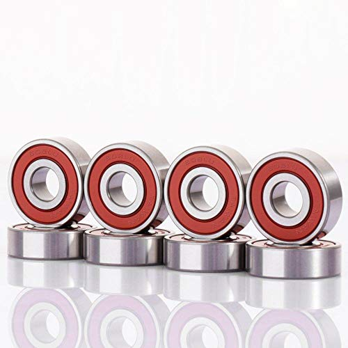 Maxfind Abec 9 Precision 608RS Double Shielded Skateboard Longboard,Kick Scooter,Inline and Roller SkatesBearings Red Silver Bearings Spacers Miniature Ball Bearings(Pack of 16) (Bearings)