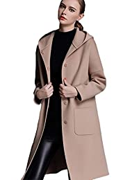 Insun Women's Fashion Winter Single Breasted Long Cashmere Wool Coat with Hood