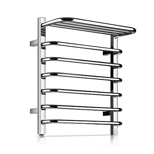 Homeleader Towel Warmer and Drying Rack, L34-002 Heated Stainless Steel Towel Rack, Wall-mounted with Shelf, 9 Bars & chrome