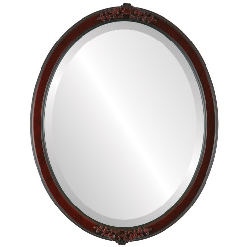 (Oval Beveled Wall Mirror for Home Decor - Athena Style - Vintage Cherry - 22x26 outside dimensions)