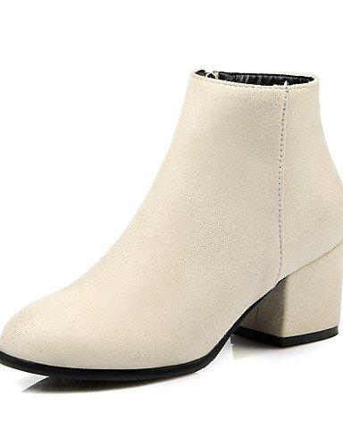 XZZ  Damen-Stiefel-Kleid-Kunstleder-Blockabsatz-Modische Stiefel-Schwarz   Beige