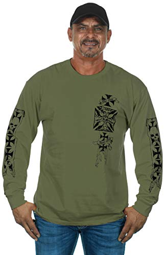 (Mens Graphic Print Iron Cross & Skull Design Long Sleeve Biker T-Shirt in 4 Colors (2X, OD Green))