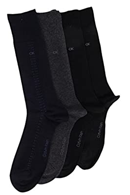 Calvin Klein Mens (Bonus 4 Pack) Cotton Dress Socks