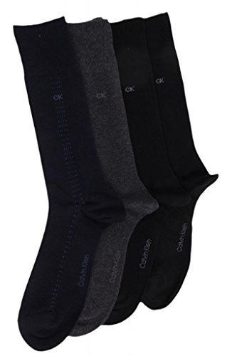 Calvin Klein Mens (Bonus 4 Pack) Cotton Dress Socks Asst One Size