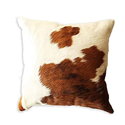 Pleasant Amazon Com Cow Hide Throw Pillows Cover Brown White Real Caraccident5 Cool Chair Designs And Ideas Caraccident5Info