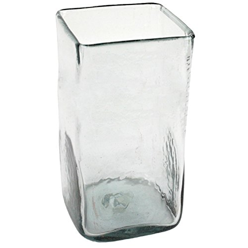 MY SWANKY HOME Large Tall Recycled Glass Square Vase | Hurricane Candle Holder