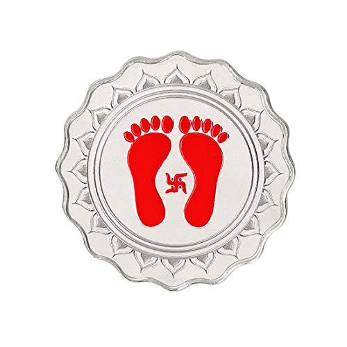 Kundan 999.9 Silver Lakshmi Feet Color Coin