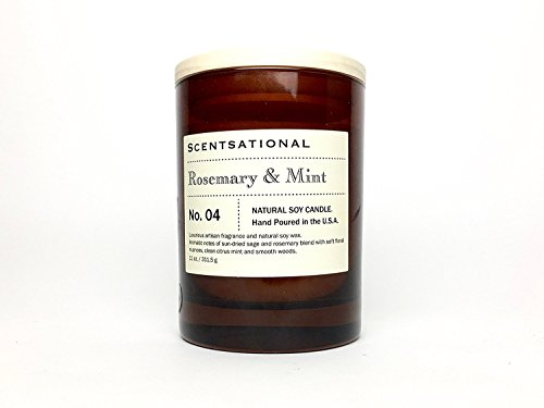 Scentsational Rosemary & Mint Scented | Natural Soy Candle | Hand Poured in the USA ()