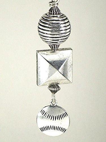 A Silvery Metal Baseball Sports Medallion Ceiling Fan Pull Chain