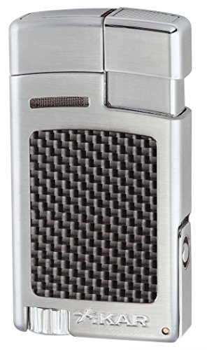 Xikar Forte Jet Flame Lighter - Silver Carbon Fiber (Fiber Lighter Carbon Cigar)
