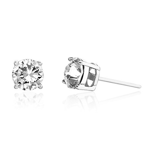Devin Rose 6mm Round Solitaire Stud Earrings for Women Made with Swarovski Crystals in 925 Sterling Silver (Various Imitation Birthstone)