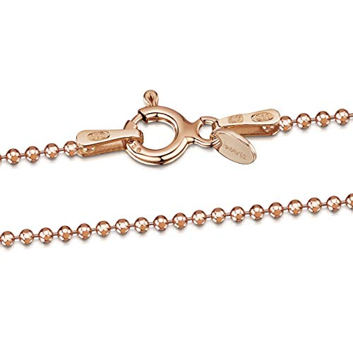 14K Rose Gold Plated on 925 Sterling Silver 1.2 mm Ball Bead Chain Necklace Length 28
