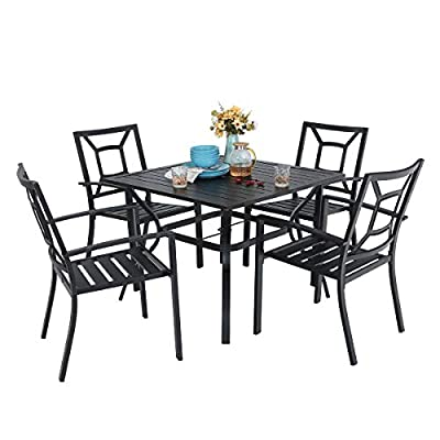 "PHI VILLA Patio Dining Table and Chairs Set of 5 - Heavy Duty frame,rust and weather resistant for long-lasting outdoor use.Perfect for Indoor,outdoor garden, patio, porch, and yard; Spacious chair and table comfortable for four or more person family dinner and party,cushions(no include) can be added in cold weather; Stylish modern metal slat design makes the table and chairs sturdy and polished elegantly,easy to assemble.1.57"" umbrella hole fits most umbrellas; - patio-furniture, dining-sets-patio-funiture, patio - 4184DiA07RL. SS400  -"