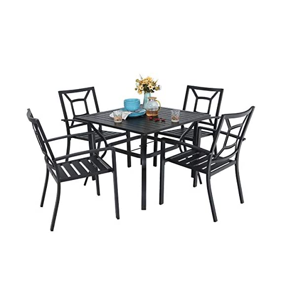 "PHI VILLA 5 Piece Outdoor Patio Dining Set, Square Metal Slatted Table with 1.57"" Umbrella Hole & 4 Metal Chairs for… - 1 METAL TABLE - Metal dining table with thick slat metal tabletop, rust and weather resistant. Powder-coated wood like finish, can be easily cleaned up with damp cloth and water. Skid resistant feet for uneven ground and against floor scratching. Dimensions: 37""L x 37""W x 28""H. 4 METAL PATIO CHAIRS - Made of lightweight steel with exquisite black e-coating, more stable and sturdy, supports 300 lbs. The height of backrest and seat is ergonomically designed, spacious and comfortable for six people family dinner and party. Also can be stacked for easy storage. ELEGANT DESIGN - The 5 piece outdoor dining table set beautifully transforms any backyard, porch, balcony or deck into an elegant dining area with its superior quality & deep comfort feel. Match any decor and suitable for outdoor and indoor use. - patio-furniture, dining-sets-patio-funiture, patio - 4184DiA07RL. SS570  -"