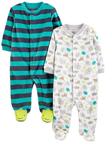 Simple Joys by Carter's Boys' 2-Pack Fleece Footed Sleep and Play, Animal/Stripe, 3-6 Months