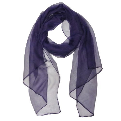 Wrapables Solid Color 100% Silk Long Scarf, Indigo