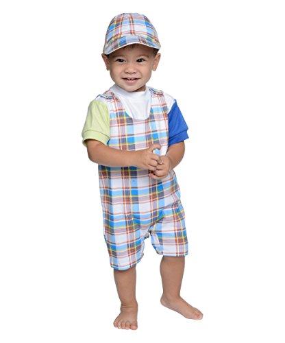 (SNOPEA Baby Boy ADORABLE Orange & Blue Plaid Shortall Top & Hat (12M))