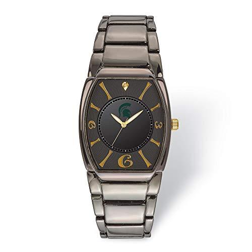 (Jewels By Lux LogoArt Michigan State University Executive Black-Plated Watch)