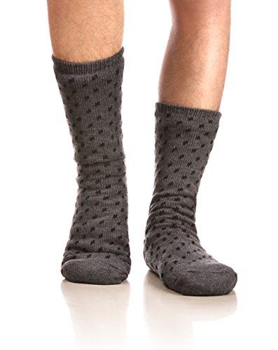 Eocom Men's Winter Warm Fuzzy Non Slip Slipper Socks Christmas Valentine's Day Gift Idea(Grey)