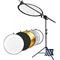 Neewer Pro Version Photo Studio Reflector and Stand Kit: (1)43 inches 5-in-1 Collapsible Light Reflector, (1)30-75 inches Reflector Arm Support, (1)45-102 inches Photography Light Stand and (1)Sandbag
