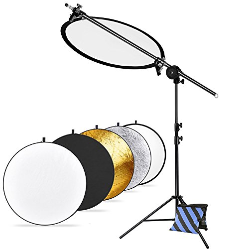 Neewer Pro Version Photo Studio Reflector and Stand Kit: (1)43 inches 5-in-1 Collapsible Light Reflector, (1)30-75 inches Reflector Arm Support, (1)45-102 inches Photography Light Stand and (1)Sandbag by Neewer
