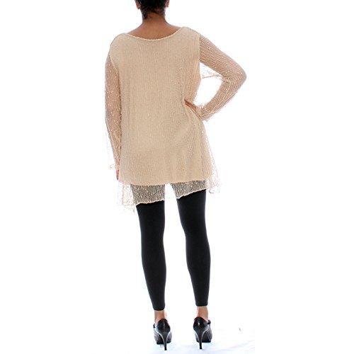 Candy Clothing - Camiseta de manga larga - Floral - para mujer Beige