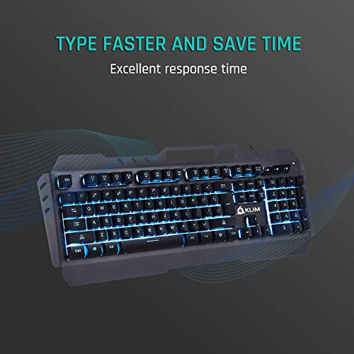 KLIM Lightning Gaming Keyboard – Semi Mechanical – Led 7 Colors Light Up, Metal Frame, Ergonomic – Compatible PC PS4 Mac Keyboards – Office Computer Membrane Gamer Wired USB Teclado – RGB Rainbow Keys