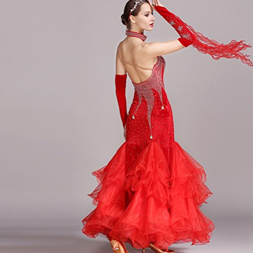 Performance Nationale Sling Swing Danse Costume Compétition Femmes Sans De Jupe Valse Big Robe Manches Wqwlf Moderne Pour m Red K7aA6gqy