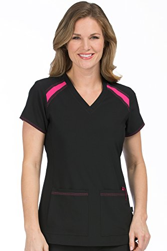 - Med Couture Women's 'Activate' V-Neck Color Block Scrub Top, Black/Pink Punch, Large