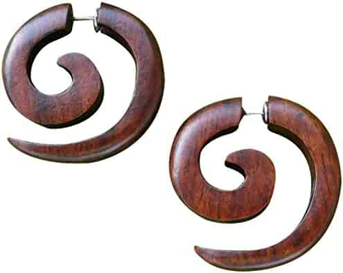 UMBRELLALABORATORY Tribal Organic Wooden Earrings Fake Gauges Sold As Pair bohemian jewelry w 4
