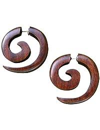 UMBRELLALABORATORY Tribal Organic Wooden Earrings Fake Gauges Sold As Pair Bohemian Jewelry w 4