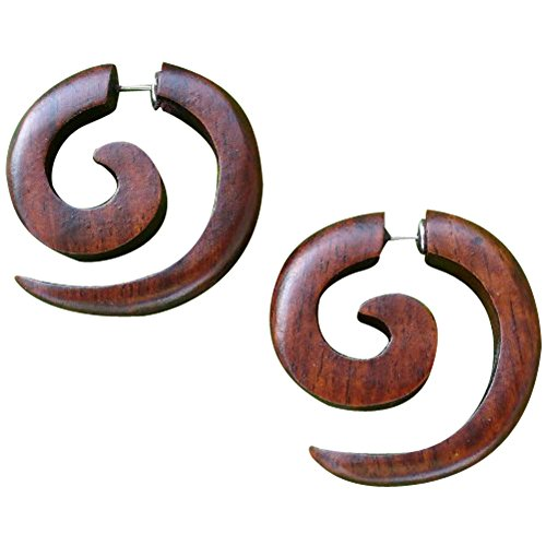 - UMBRELLALABORATORY Tribal Organic Wooden Earrings Fake Gauges Sold As Pair bohemian jewelry spiral tattoo faux plugs tapers w 4