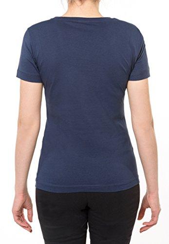 Champion 108914_S16 - Camiseta de mujer con cuerro redondo (talla XL), color azul negro
