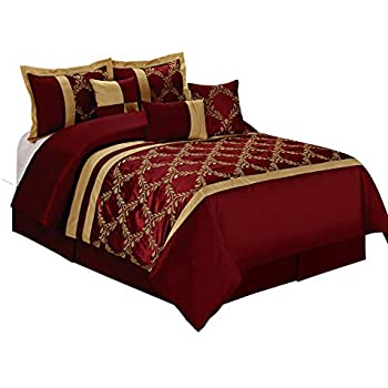 HIG 7 Piece Comforter Set Queen- Burgundy and Gold Taffeta Fabric  Embroideried- Claremont Bed in A Bag Queen Size- Smooth and Good Gloss-1  Comforter,2 ...