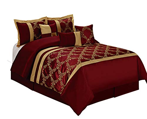 HIG 7 Piece Comforter Set King- Burgundy and Gold Taffeta Fabric Embroideried- Claremont Bed in A Bag King Size- Smooth and Good Gloss-1 Comforter,2 Shams,3 Decorative Pillows,1 Bedskirt (Sets King Size Bed Burgundy)