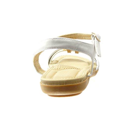 Angkorly Women's Fashion Shoes Sandals - Thong - Flowers - Rhinestone Flat Heel 2 cm White VkZj1uJF6