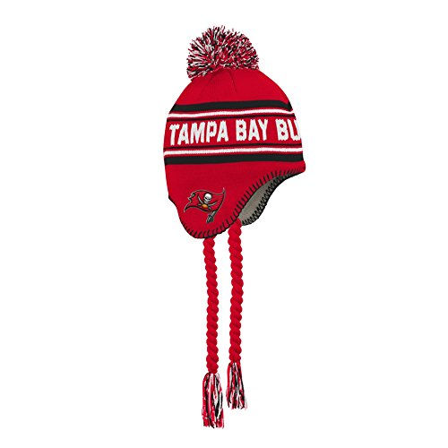 NFL Tampa Bay Buccaneers Jacquard Tassel Knit Hat with Pom Red, Youth One Size ()