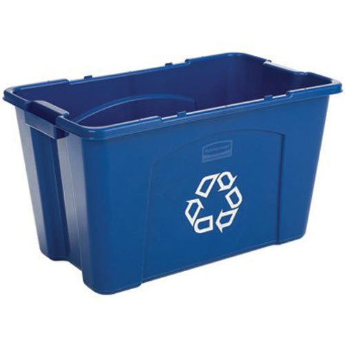 Rubbermaid Commercial Polyethylene 18-Gallon Commercial Stacking Recycle Bin, Rectangular, 16