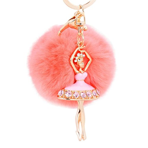 Naladoo Ballet Girl Pom Pom Fur Ball Key Chain Key Ring For Girl Bag Cellphone Car Clothes Charm Pendant Decoration Gift Picture