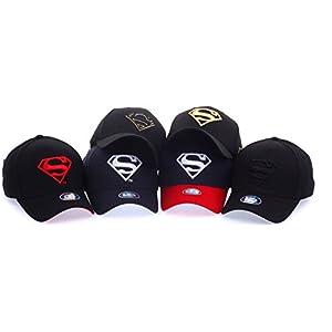 POPKORS Superman Shield Embroidery Flex-fit Strech Fit Fitted Baseball Cap Trucker Hat