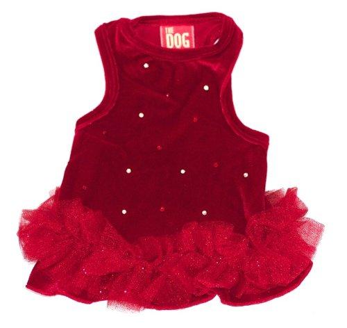 (The Dog Squad Velvet Twinkle Tutu Pet Dress, Medium, Red)