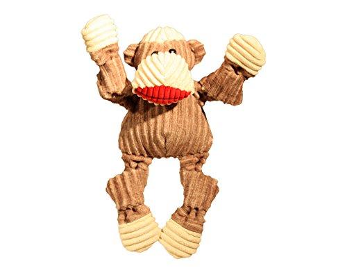 Dog Small Socks - HuggleHounds Plush Corduroy Durable Knottie Sock Monkey, Dog Toy, Small