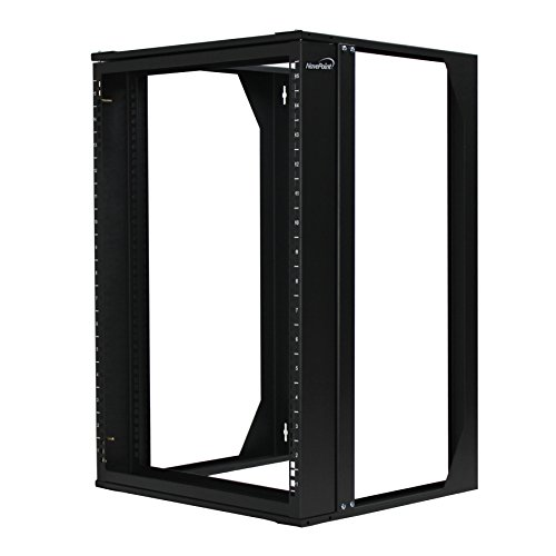 NavePoint 15U Wall Mount IT Open Frame 19 Rack with Swing Out Hinged Gate Black