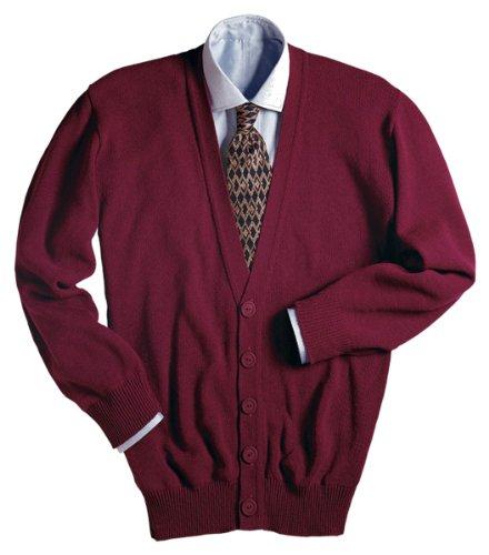 Ed Garments Men's Machine Washable V Neck Cardigan, BURGUNDY, X-Large