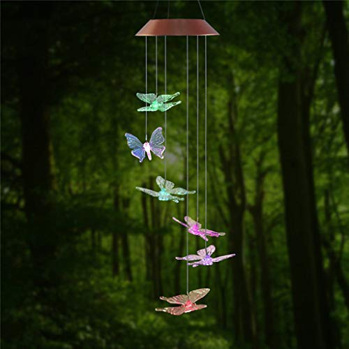 Gotian Solar Color-Changing Wind Chime Light Hanging LED Light Solar Powered Butterfly Wind Chimes Light Home Garden Hanging Lamp ()