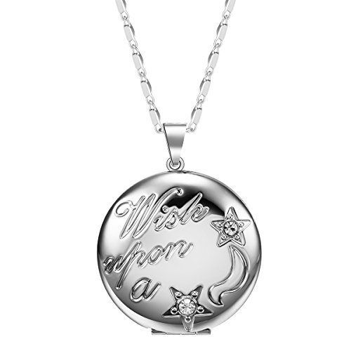 (JuJubak Sterling Silver Circle Diamond Hand-Engraved Photo Picture Locket Pendant Necklace Platinum/18K Gold Plated Vintage)