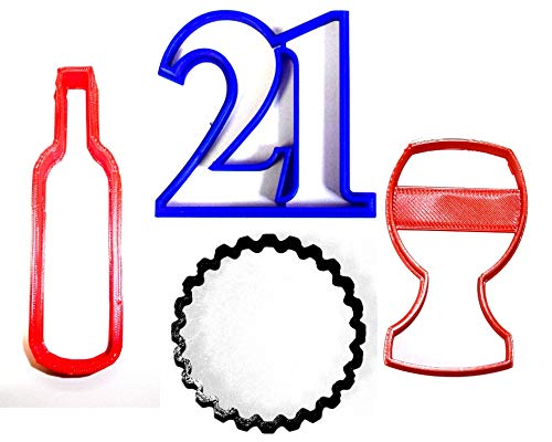 - 21ST BIRTHDAY PARTY CELEBRATION NUMBER TWENTY-ONE WINE GLASS BOTTLE CAP SET OF 4 SPECIAL OCCASION COOKIE CUTTERS BAKING TOOL 3D PRINTED MADE IN USA PR1037
