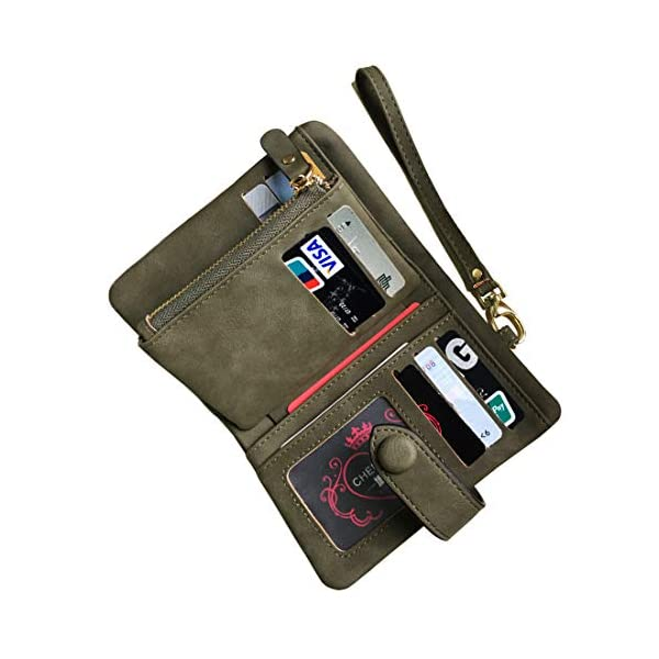 Women's Small Bifold Leather wallet Rfid blocking Ladies Wristlet with Card holder id window Coin Purse (Army Green)