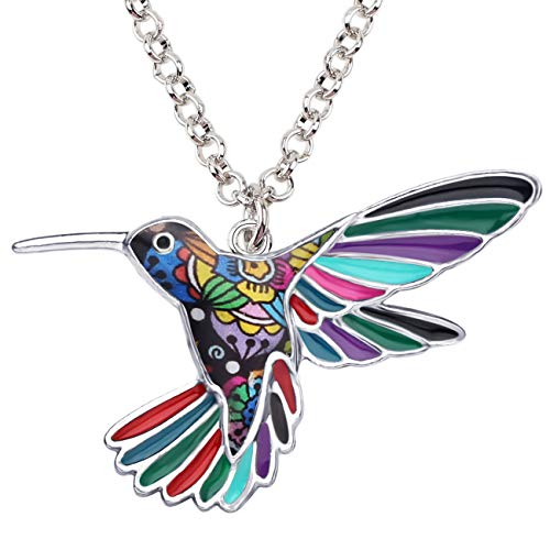 BONSNY Enamel Alloy Chain Hummingbird Bird Necklace Pendant Original Design for Women Kids Charms Gifts (Multicolor) ()