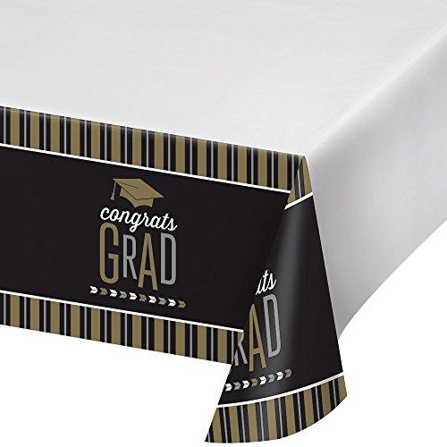2-Pack Glitzy GRAD, Graduation Premium Plastic Table Covers
